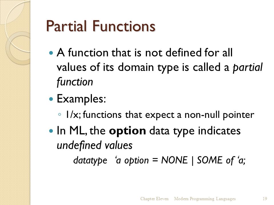 Partial Functions A function that is not defined for all values of its domain type is called a partial function Examples: ◦ 1/x; functions that expect a non-null pointer In ML, the option data type indicates undefined values datatype 'a option = NONE | SOME of 'a; Chapter ElevenModern Programming Languages19
