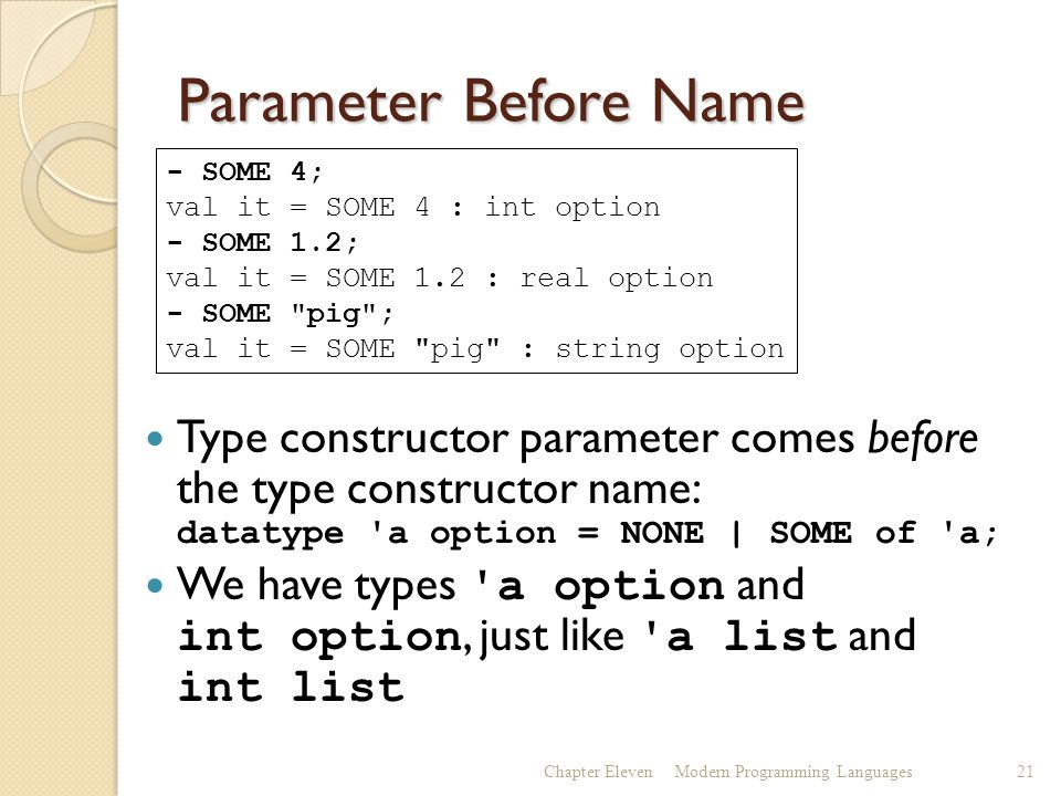 Parameter Before Name Type constructor parameter comes before the type constructor name: datatype a option = NONE | SOME of a; We have types a option and int option, just like a list and int list Chapter ElevenModern Programming Languages21 - SOME 4; val it = SOME 4 : int option - SOME 1.2; val it = SOME 1.2 : real option - SOME pig ; val it = SOME pig : string option