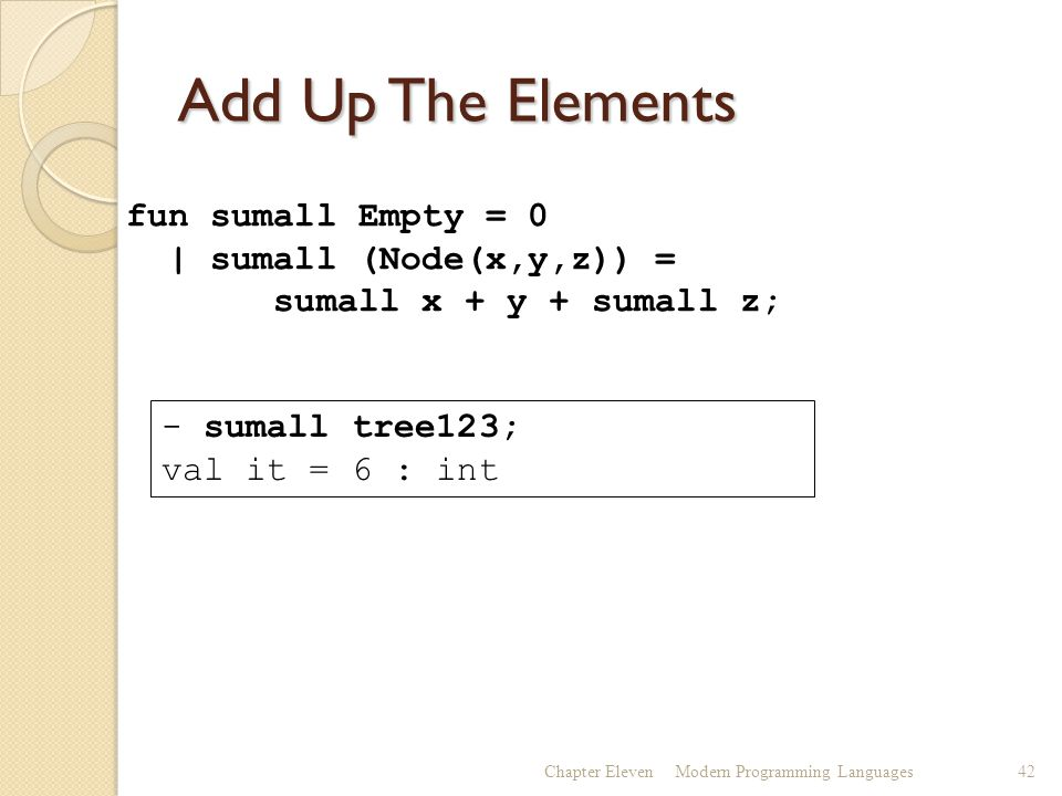 Add Up The Elements Chapter ElevenModern Programming Languages42 fun sumall Empty = 0 | sumall (Node(x,y,z)) = sumall x + y + sumall z; - sumall tree123; val it = 6 : int