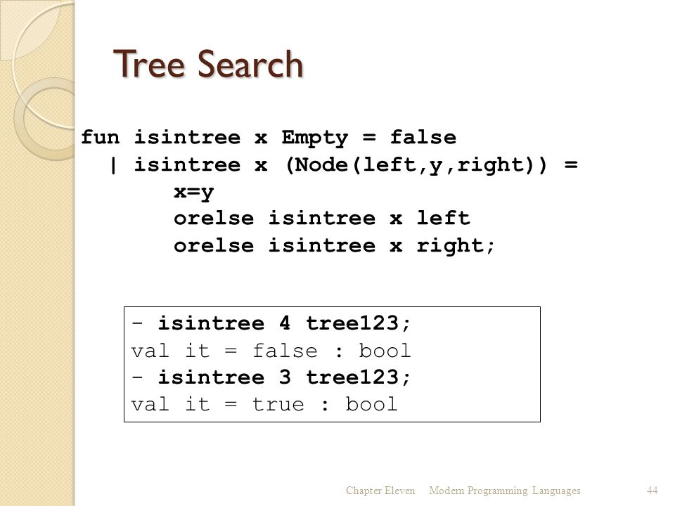 Tree Search Chapter ElevenModern Programming Languages44 fun isintree x Empty = false | isintree x (Node(left,y,right)) = x=y orelse isintree x left orelse isintree x right; - isintree 4 tree123; val it = false : bool - isintree 3 tree123; val it = true : bool