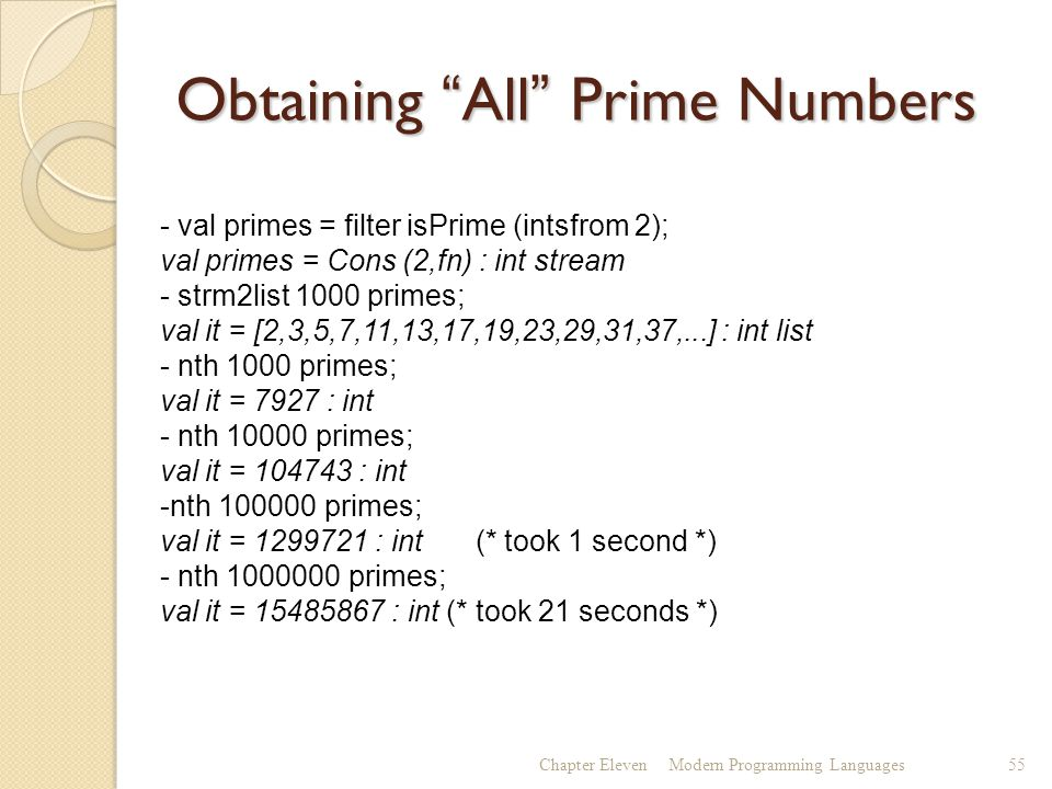 Obtaining All Prime Numbers Chapter ElevenModern Programming Languages55 - val primes = filter isPrime (intsfrom 2); val primes = Cons (2,fn) : int stream - strm2list 1000 primes; val it = [2,3,5,7,11,13,17,19,23,29,31,37,...] : int list - nth 1000 primes; val it = 7927 : int - nth 10000 primes; val it = 104743 : int -nth 100000 primes; val it = 1299721 : int (* took 1 second *) - nth 1000000 primes; val it = 15485867 : int (* took 21 seconds *)