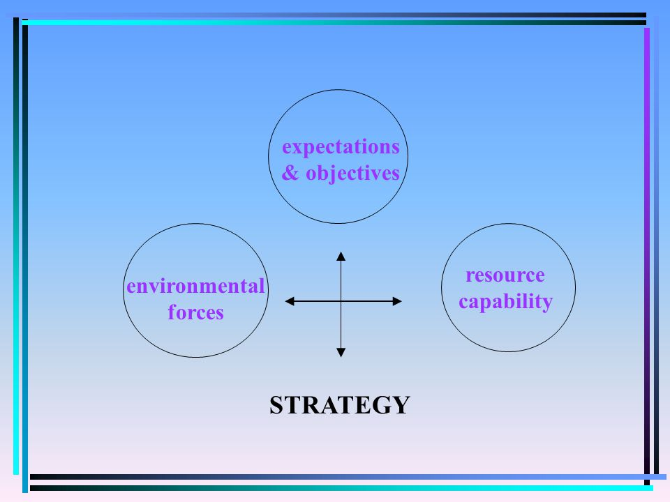 opportunities & threats strengths & weaknesses Environmental forces Organisational capabilities SHARED BELIEFS & ASSUMPTIONS STRATEGY PERFORMANCE