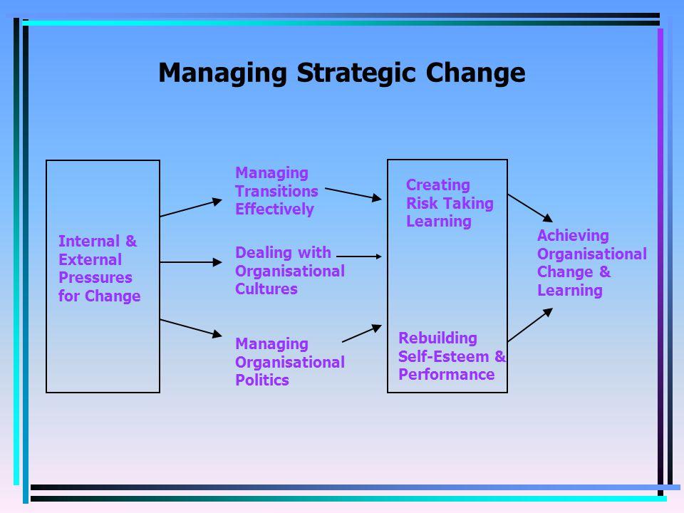 Managing Strategic Change Internal & External Pressures for Change Creating Risk Taking Learning Rebuilding Self-Esteem & Performance Managing Transitions Effectively Dealing with Organisational Cultures Managing Organisational Politics Achieving Organisational Change & Learning