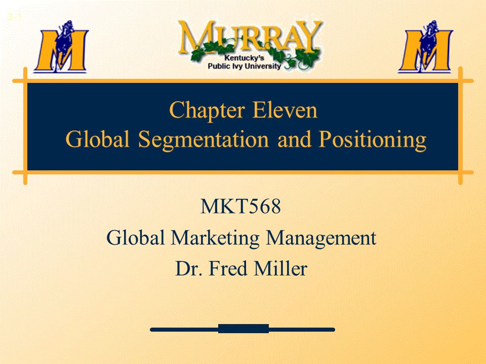Chapter Eleven Global Segmentation and Positioning MKT568 Global Marketing Management Dr. Fred Miller 3-1