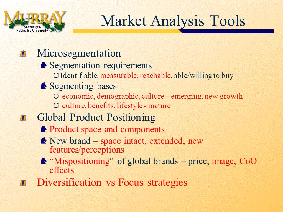 Market Analysis Tools Microsegmentation Segmentation requirements Identifiable, measurable, reachable, able/willing to buy Segmenting bases economic, demographic, culture – emerging, new growth culture, benefits, lifestyle - mature Global Product Positioning Product space and components New brand – space intact, extended, new features/perceptions Mispositioning of global brands – price, image, CoO effects Diversification vs Focus strategies