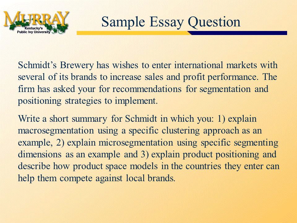 Sample Essay Question Schmidt's Brewery has wishes to enter international markets with several of its brands to increase sales and profit performance.