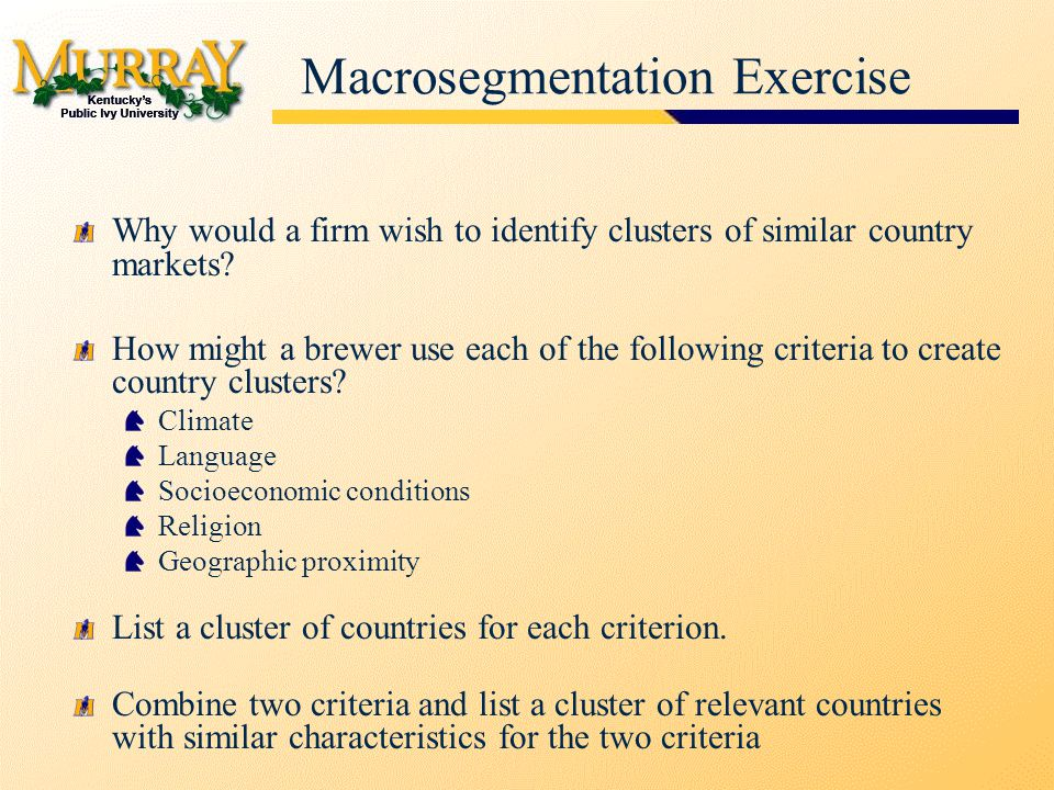 Macrosegmentation Exercise Why would a firm wish to identify clusters of similar country markets.