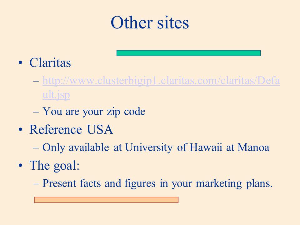Other sites Claritas –http://www.clusterbigip1.claritas.com/claritas/Defa ult.jsphttp://www.clusterbigip1.claritas.com/claritas/Defa ult.jsp –You are