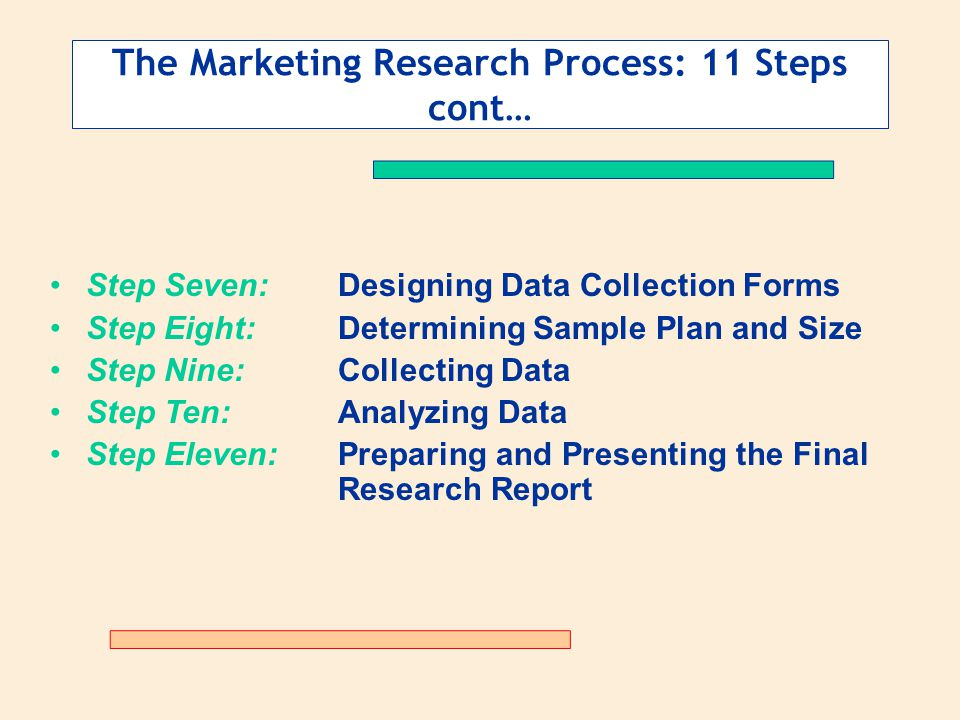 The Marketing Research Process: 11 Steps cont… Step Seven:Designing Data Collection Forms Step Eight:Determining Sample Plan and Size Step Nine:Collec