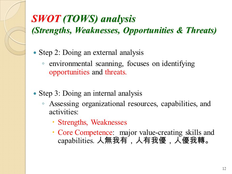SWOT (TOWS) analysis (Strengths, Weaknesses, Opportunities & Threats) Step 2: Doing an external analysis ◦ environmental scanning, focuses on identifying opportunities and threats.
