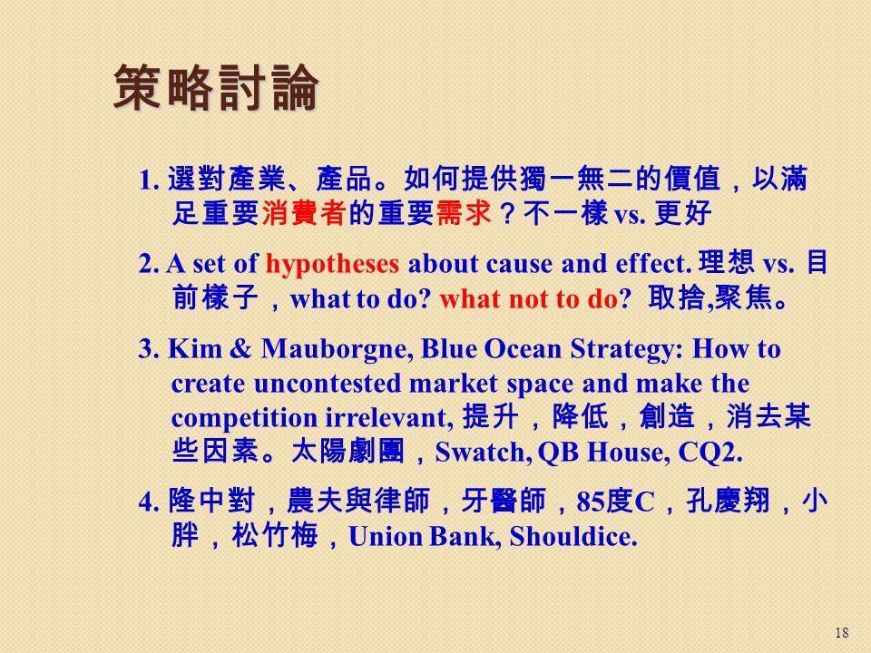 策略討論 1. 選對產業、產品。如何提供獨一無二的價值,以滿 足重要消費者的重要需求?不一樣 vs. 更好 2. A set of hypotheses about cause and effect. 理想 vs. 目 前樣子, what to do? what not to do? 取捨, 聚焦。