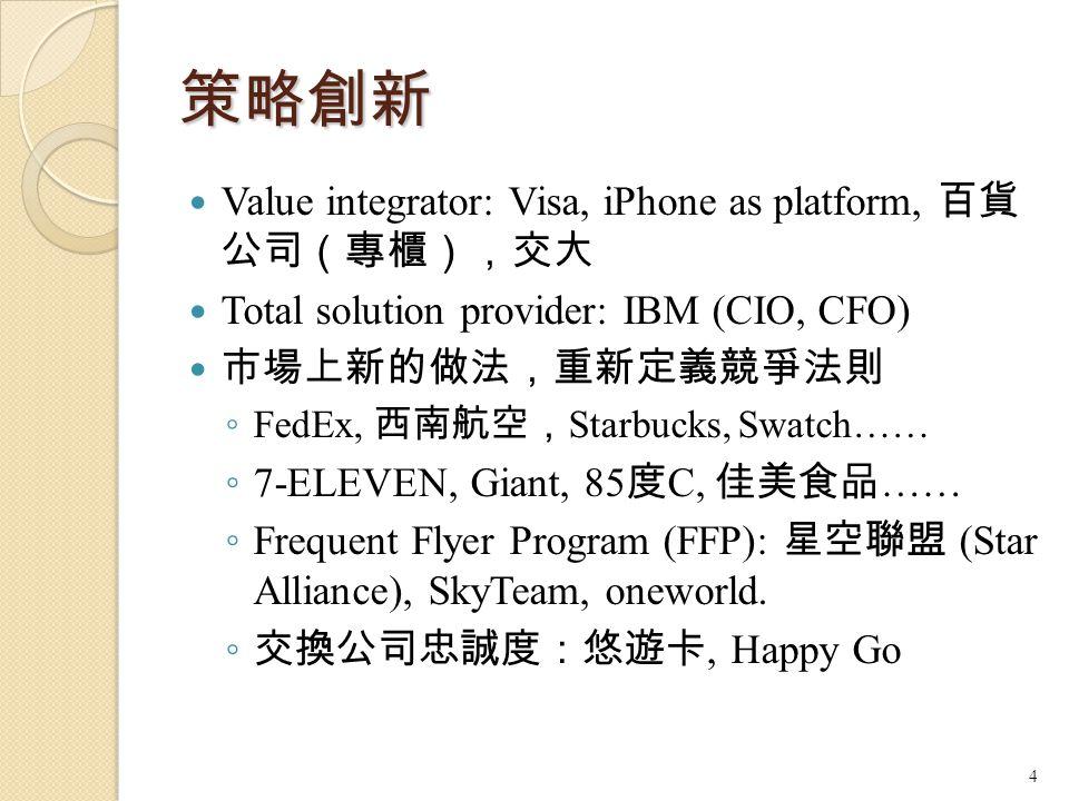 策略創新 Value integrator: Visa, iPhone as platform, 百貨 公司(專櫃),交大 Total solution provider: IBM (CIO, CFO) 市場上新的做法,重新定義競爭法則 ◦ FedEx, 西南航空, Starbucks, Swatc