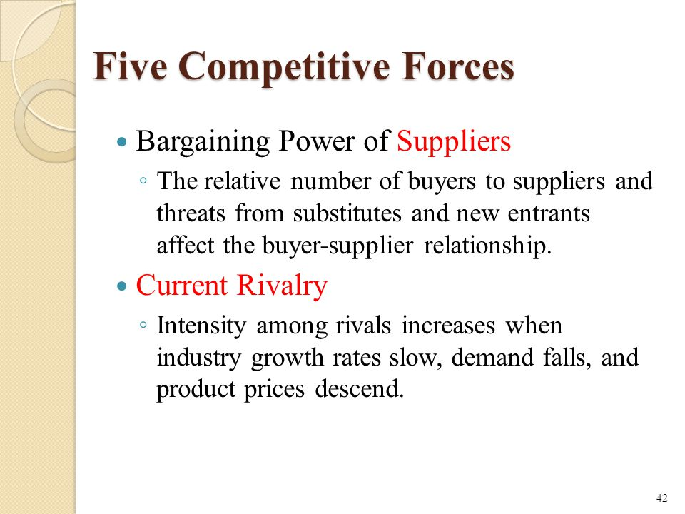 Five Competitive Forces Bargaining Power of Suppliers ◦ The relative number of buyers to suppliers and threats from substitutes and new entrants affect the buyer-supplier relationship.