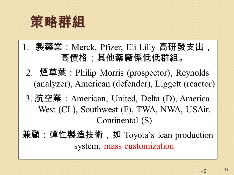 45 1. 製藥業: Merck, Pfizer, Eli Lilly 高研發支出, 高價格;其他藥廠係低低群組。 2. 煙草葉: Philip Morris (prospector), Reynolds (analyzer), American (defender), Liggett (react