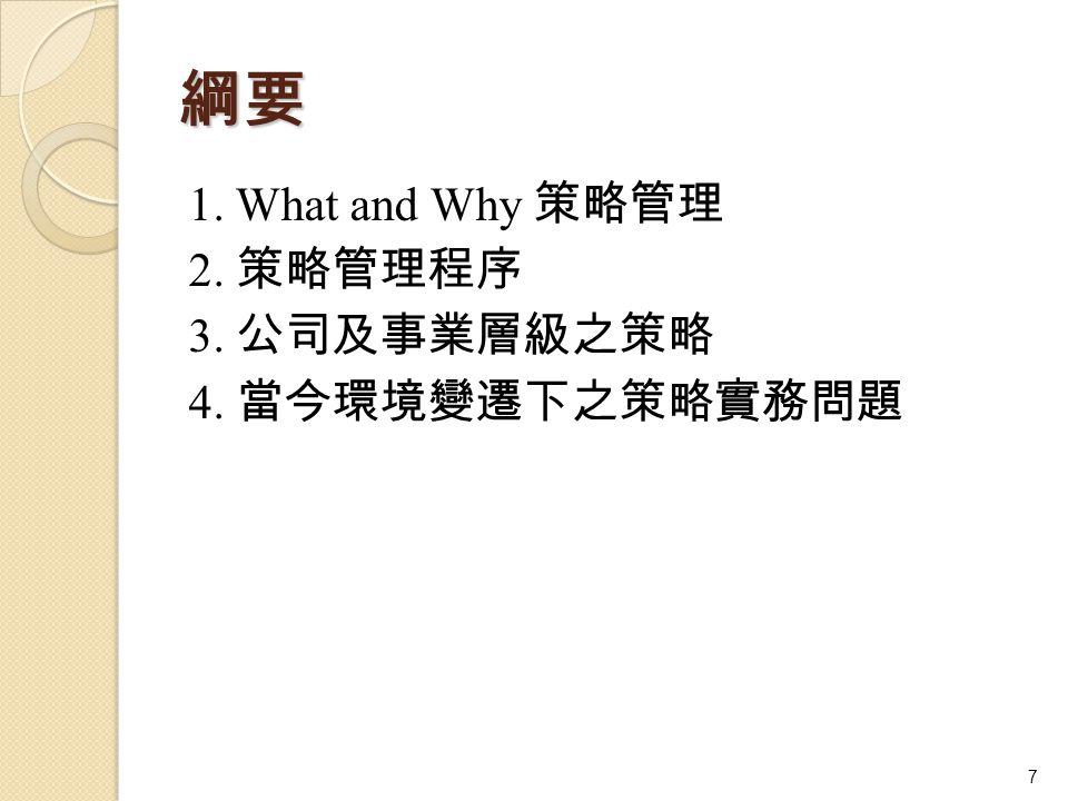 綱要 1. What and Why 策略管理 2. 策略管理程序 3. 公司及事業層級之策略 4. 當今環境變遷下之策略實務問題 7