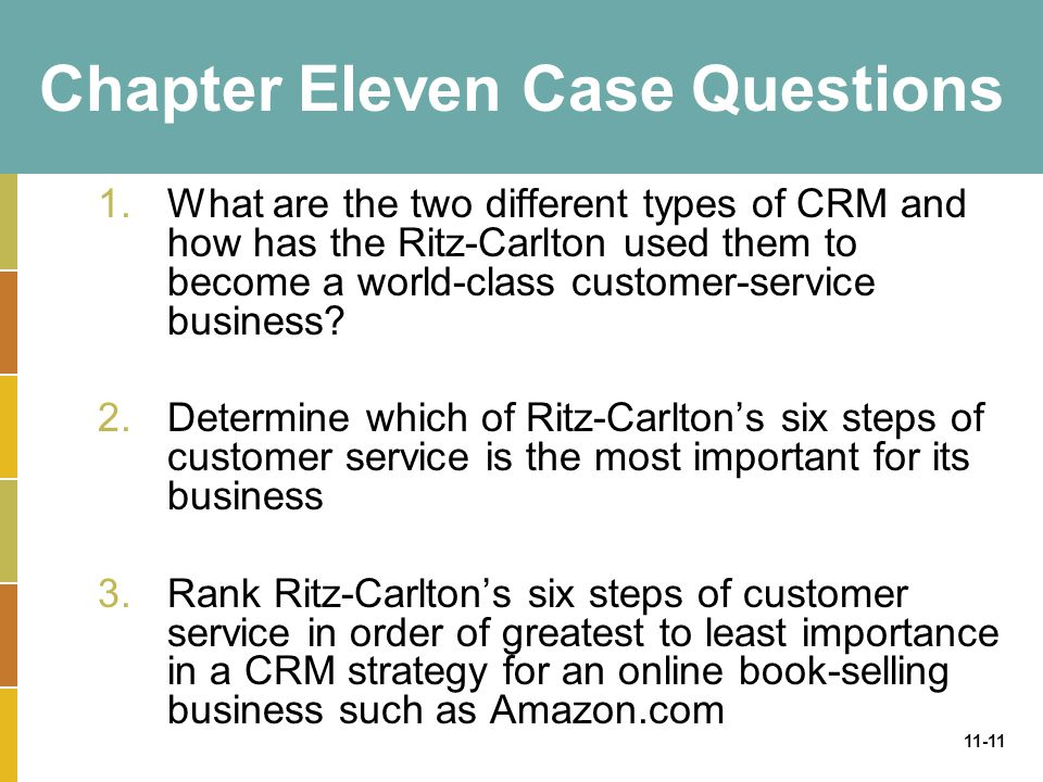 11-11 Chapter Eleven Case Questions 1.What are the two different types of CRM and how has the Ritz-Carlton used them to become a world-class customer-