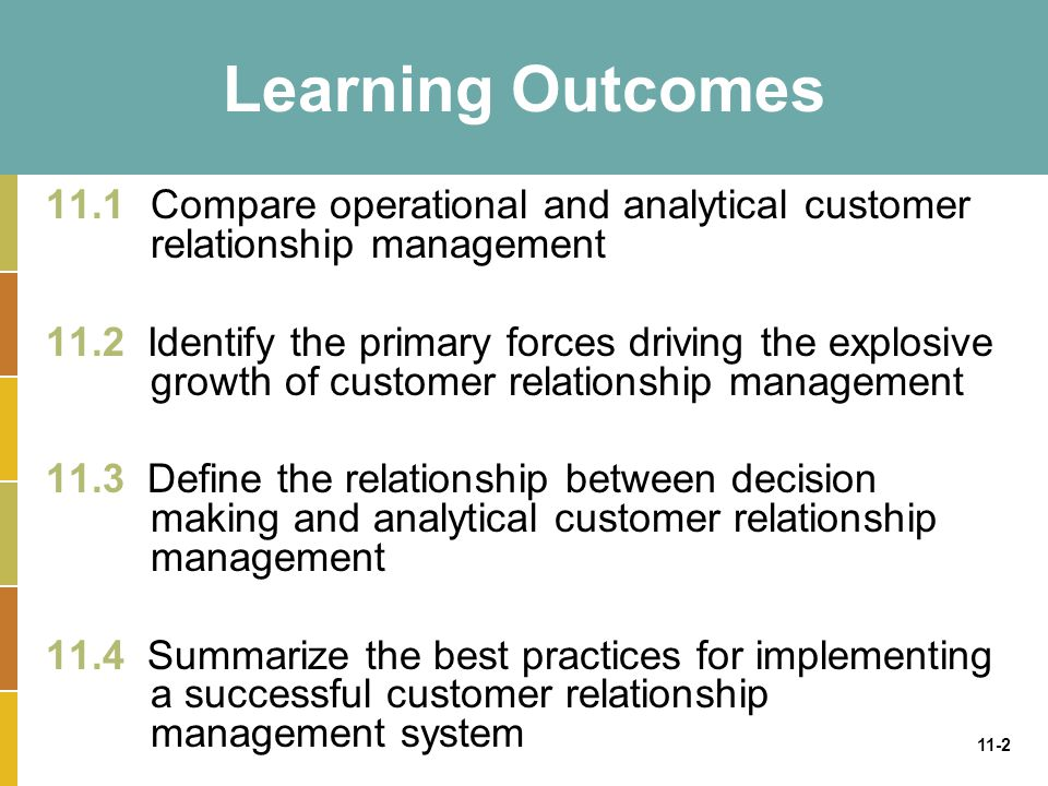 11-3 Customer Relationship Management (CRM) CRM enables an organization to: –Provide better customer service –Make call centers more efficient –Cross sell products more effectively –Help sales staff close deals faster –Simplify marketing and sales processes –Discover new customers –Increase customer revenues