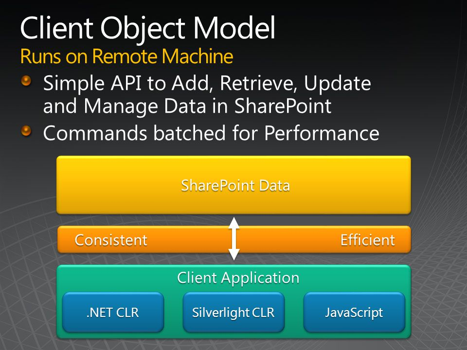 .NET CLR Silverlight CLR JavaScriptJavaScript ConsistentEfficient SharePoint Data