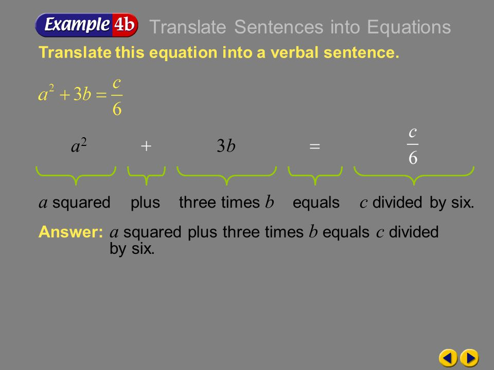 Example 1-4a Translate this equation into a verbal sentence. Answer: Twelve minus two times x equals negative five. Twelve minus two times x equals ne