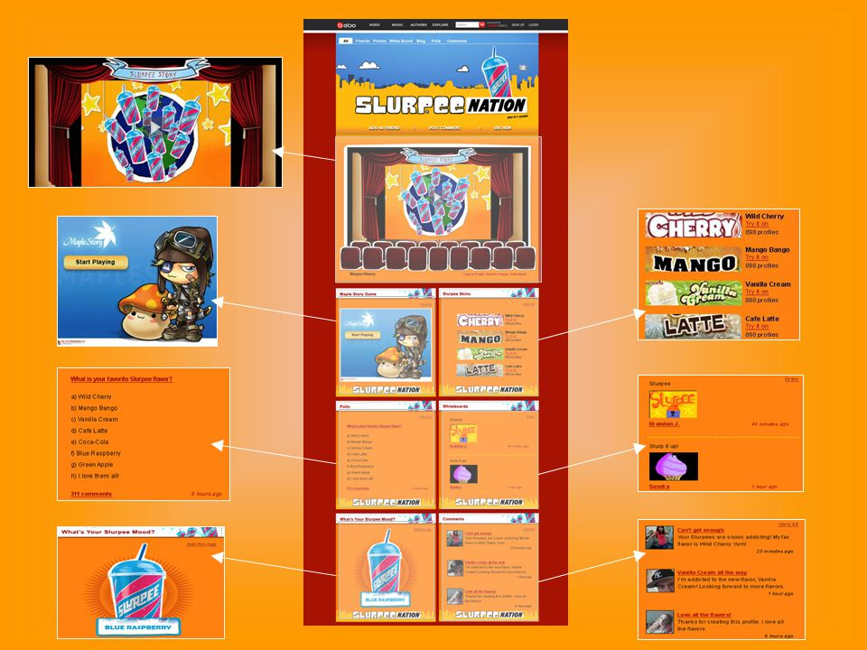 10 Sample 7-Eleven Custom Community Spread the Slurpee message on Bebo Custom 7-Eleven Profile and Skin Slurpee custom community Users can find videos, share their Slurpee stories, take quizzes, draw whiteboards, and engage in other interactive elements.
