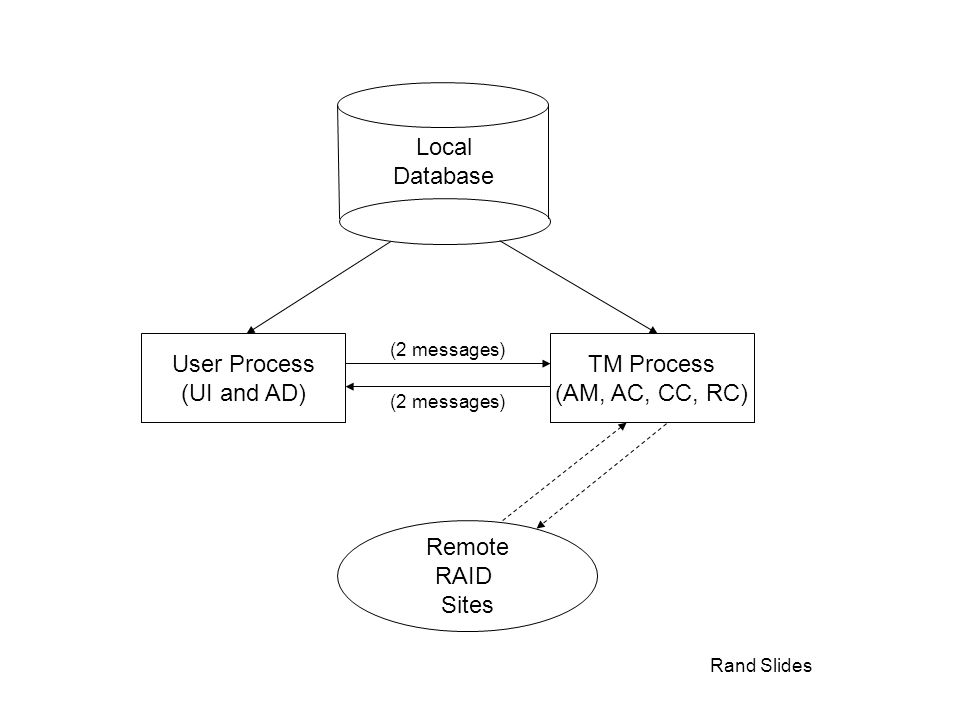 Rand Slides Local Database User Process (UI and AD) TM Process (AM, AC, CC, RC) Remote RAID Sites (2 messages)