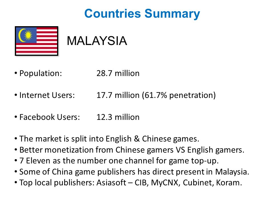 Countries Summary MALAYSIA Population:28.7 million Internet Users: 17.7 million (61.7% penetration) Facebook Users:12.3 million The market is split into English & Chinese games.