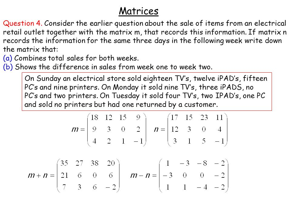 Matrices Question 4.