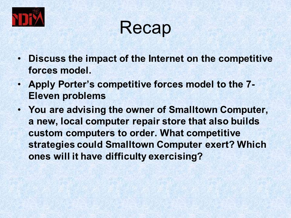 Recap Discuss the impact of the Internet on the competitive forces model.