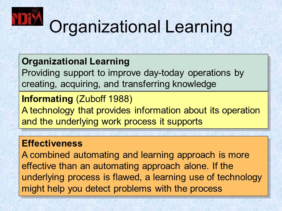 Organizational Learning Providing support to improve day-today operations by creating, acquiring, and transferring knowledge Organizational Learning Providing support to improve day-today operations by creating, acquiring, and transferring knowledge Informating (Zuboff 1988) A technology that provides information about its operation and the underlying work process it supports Informating (Zuboff 1988) A technology that provides information about its operation and the underlying work process it supports Effectiveness A combined automating and learning approach is more effective than an automating approach alone.