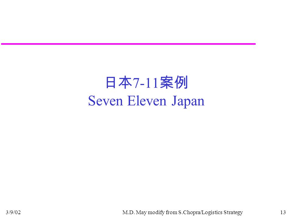 3/9/02M.D. May modify from S.Chopra/Logistics Strategy13 日本 7-11 案例 Seven Eleven Japan