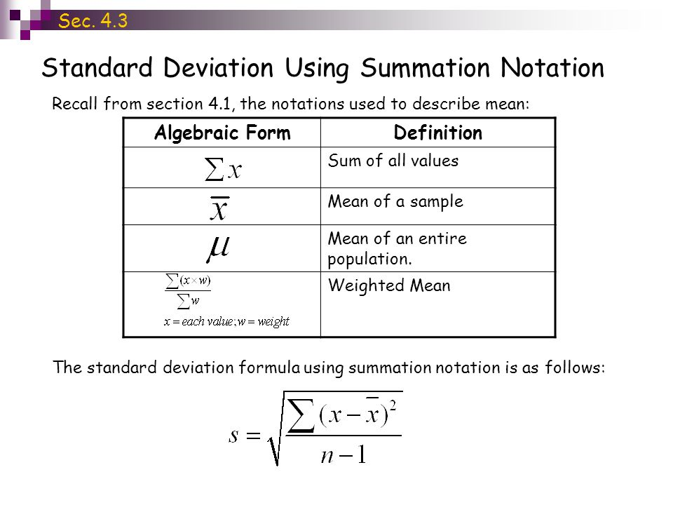Standard Deviation Using Summation Notation Algebraic FormDefinition Sum of all values Mean of a sample Mean of an entire population. Weighted Mean Se