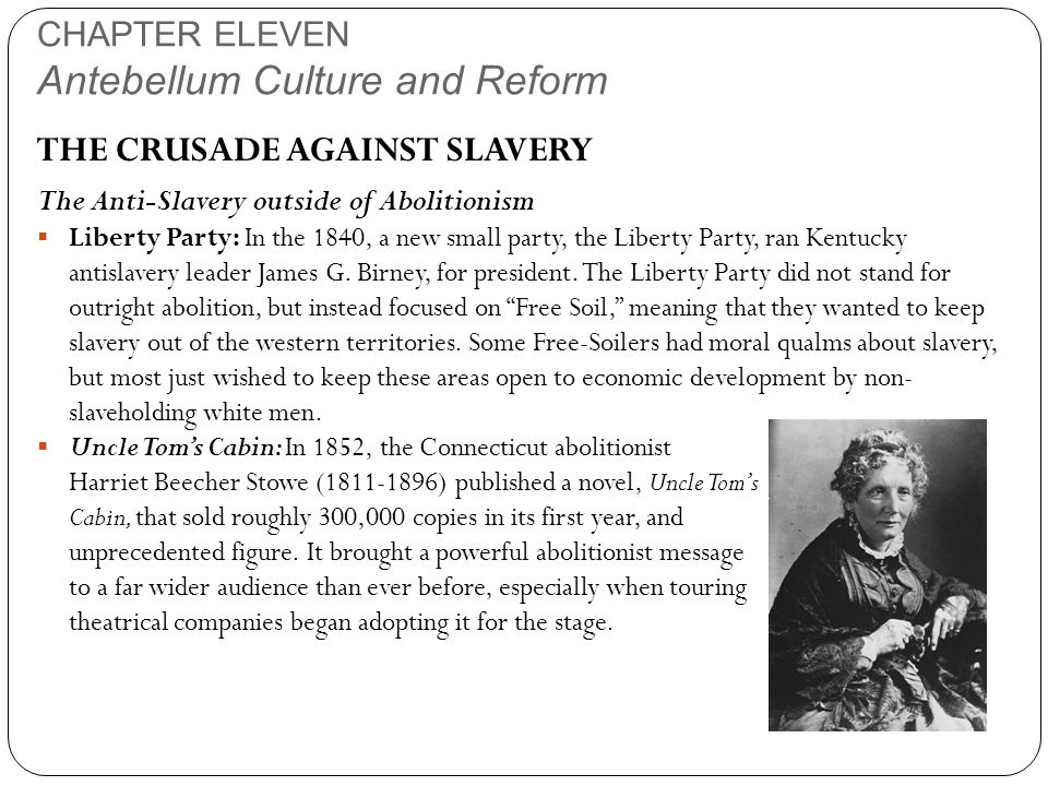 CHAPTER ELEVEN Antebellum Culture and Reform THE CRUSADE AGAINST SLAVERY The Anti-Slavery outside of Abolitionism  Liberty Party: In the 1840, a new small party, the Liberty Party, ran Kentucky antislavery leader James G.