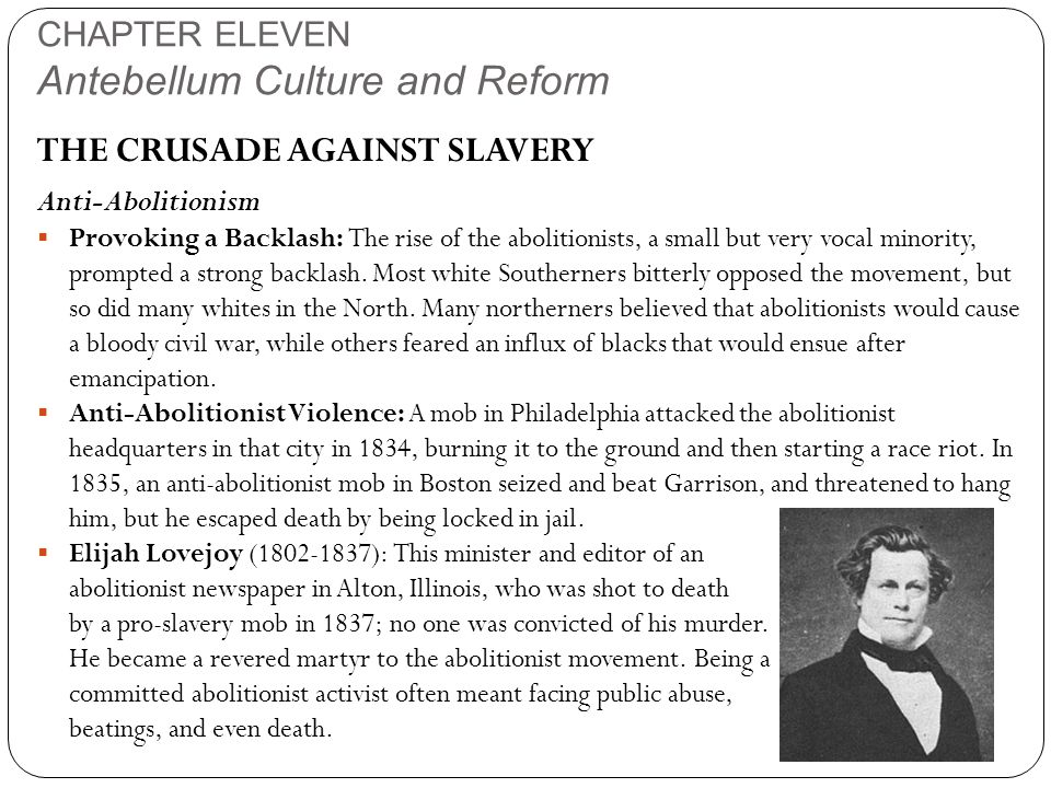 CHAPTER ELEVEN Antebellum Culture and Reform THE CRUSADE AGAINST SLAVERY Anti-Abolitionism  Provoking a Backlash: The rise of the abolitionists, a small but very vocal minority, prompted a strong backlash.