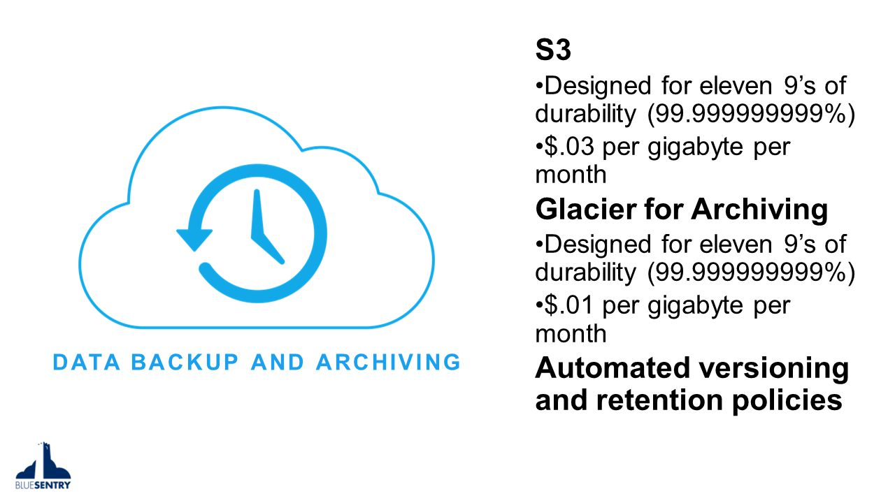 DATA BACKUP AND ARCHIVING S3 Designed for eleven 9's of durability (99.999999999%) $.03 per gigabyte per month Glacier for Archiving Designed for eleven 9's of durability (99.999999999%) $.01 per gigabyte per month Automated versioning and retention policies