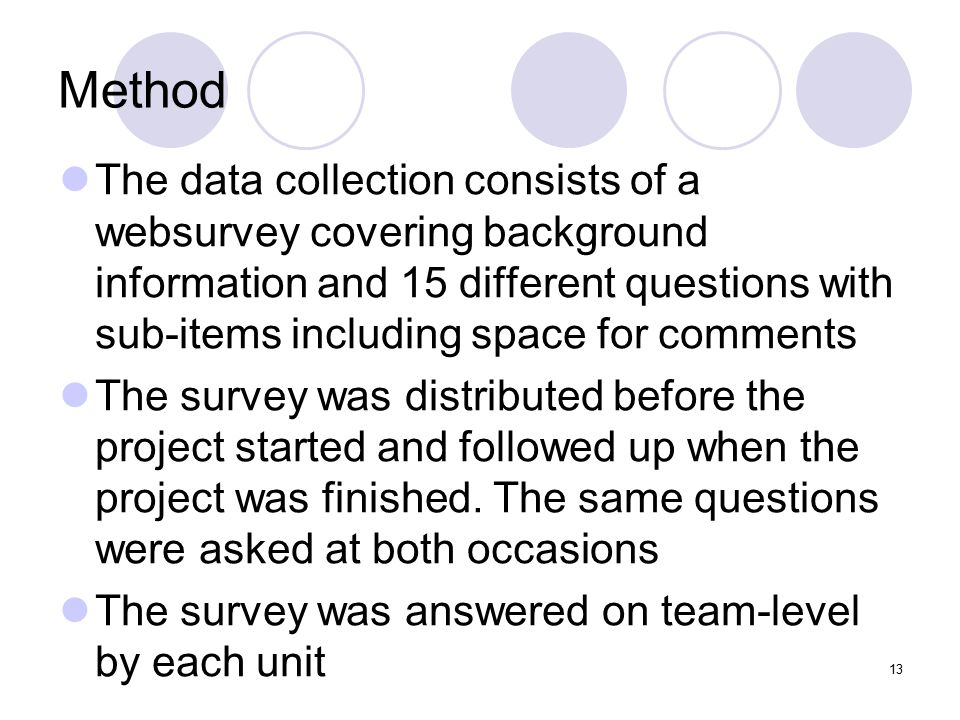 13 Method The data collection consists of a websurvey covering background information and 15 different questions with sub-items including space for co