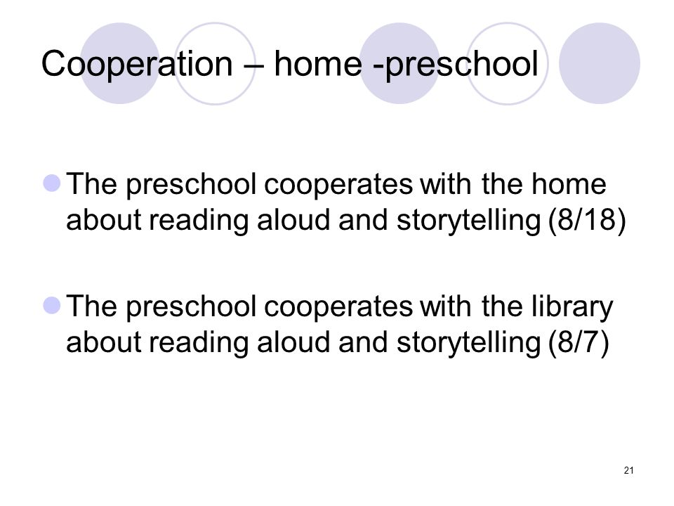 21 Cooperation – home -preschool The preschool cooperates with the home about reading aloud and storytelling (8/18) The preschool cooperates with the