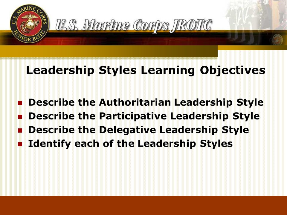 Describe the Authoritarian Leadership Style Describe the Participative Leadership Style Describe the Delegative Leadership Style Identify each of the Leadership Styles Leadership Styles Learning Objectives