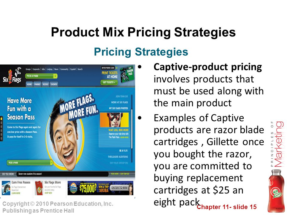 Chapter 11- slide 15 Copyright © 2010 Pearson Education, Inc. Publishing as Prentice Hall Product Mix Pricing Strategies Captive-product pricing invol