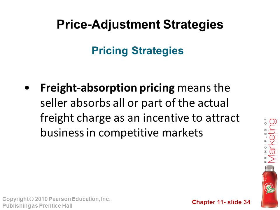 Chapter 11- slide 34 Copyright © 2010 Pearson Education, Inc. Publishing as Prentice Hall Price-Adjustment Strategies Freight-absorption pricing means