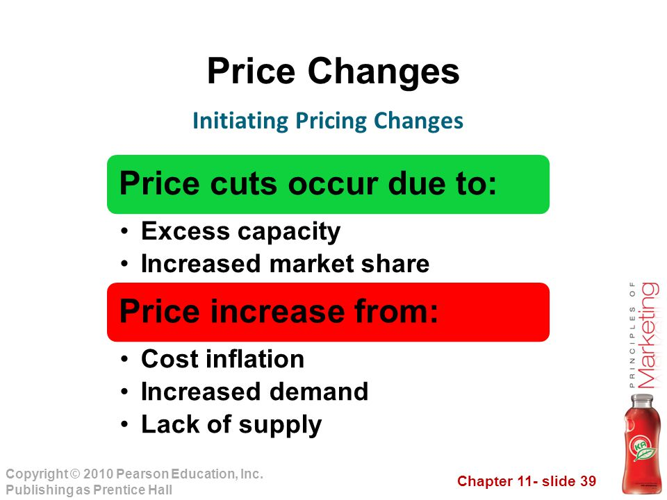 Chapter 11- slide 39 Copyright © 2010 Pearson Education, Inc. Publishing as Prentice Hall Price Changes Initiating Pricing Changes Price cuts occur du