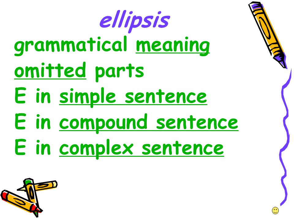 ellipsis grammatical meaningmeaning omittedomitted parts E in simple sentencesimple sentence E in compound sentencecompound sentence E in complex sent