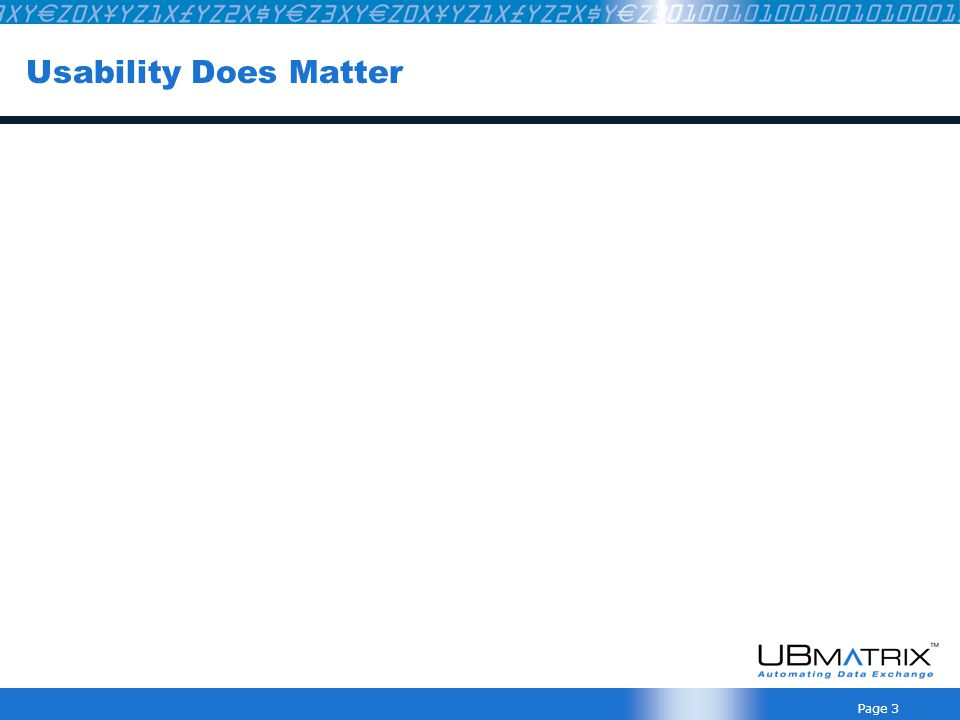 Page 3 Usability Does Matter