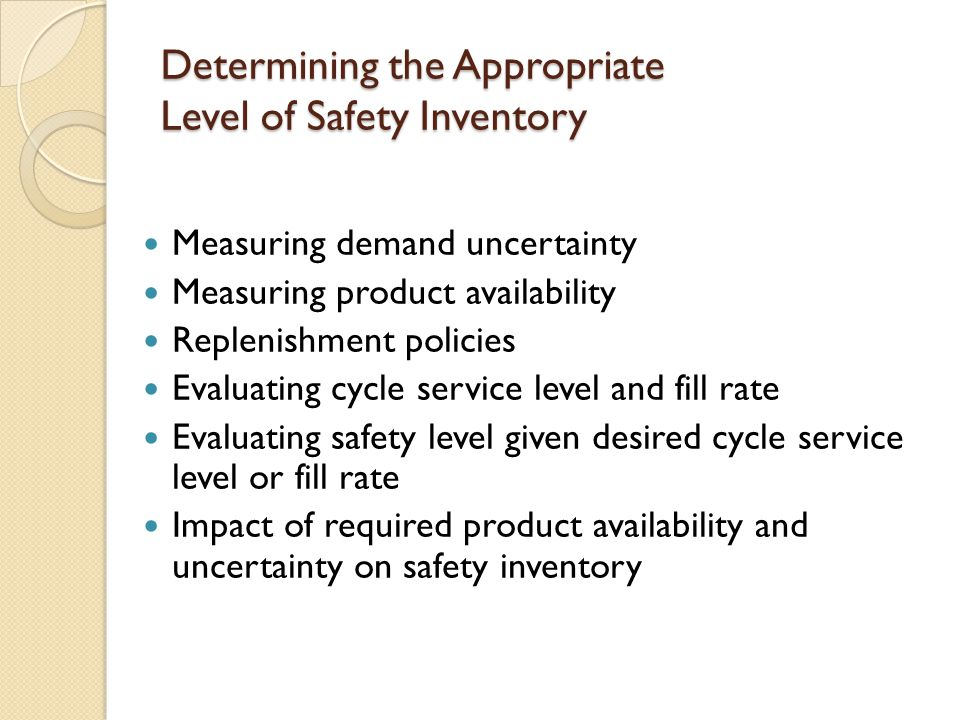 Impact of Aggregation on Safety Inventory In disaggregated case, add all the individual safety inventories to get the total figure.