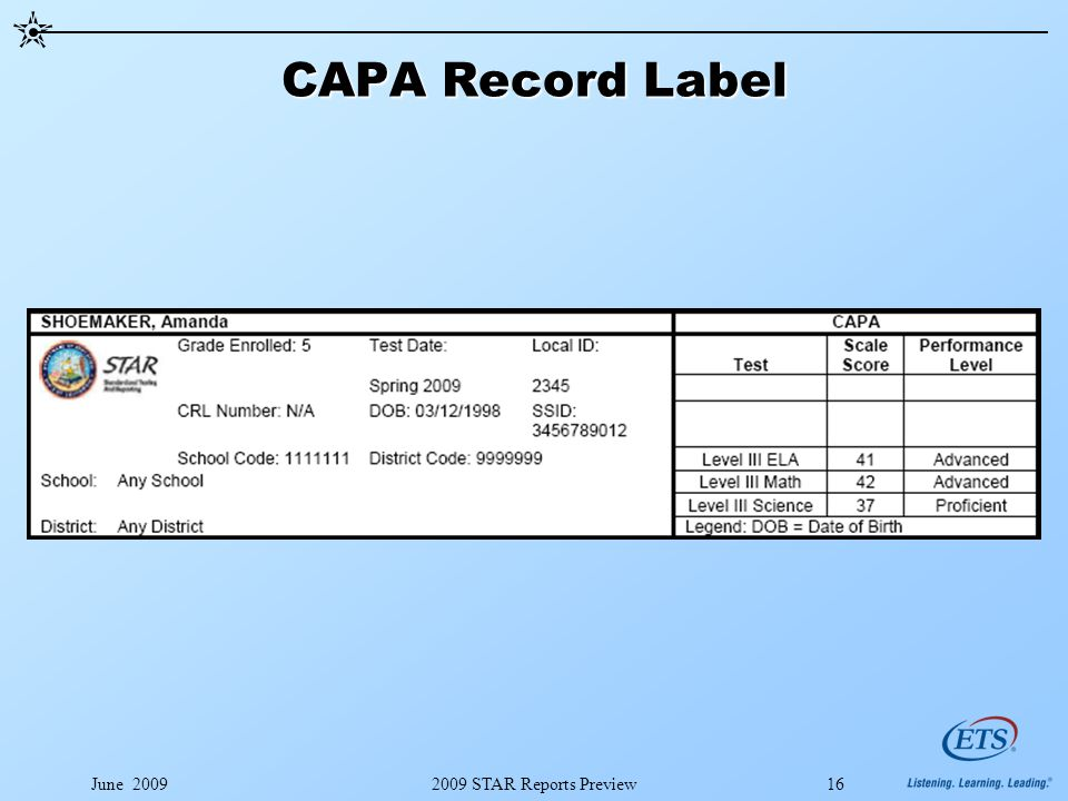 June 20092009 STAR Reports Preview16 CAPA Record Label