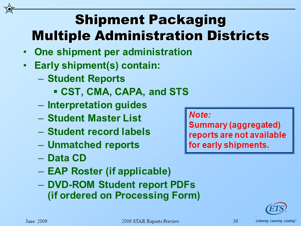 June 20092009 STAR Reports Preview39 Shipment Packaging Multiple Administration Districts One shipment per administration Early shipment(s) contain: –Student Reports  CST, CMA, CAPA, and STS –Interpretation guides –Student Master List –Student record labels –Unmatched reports –Data CD –EAP Roster (if applicable) –DVD-ROM Student report PDFs (if ordered on Processing Form) Note: Summary (aggregated) reports are not available for early shipments.