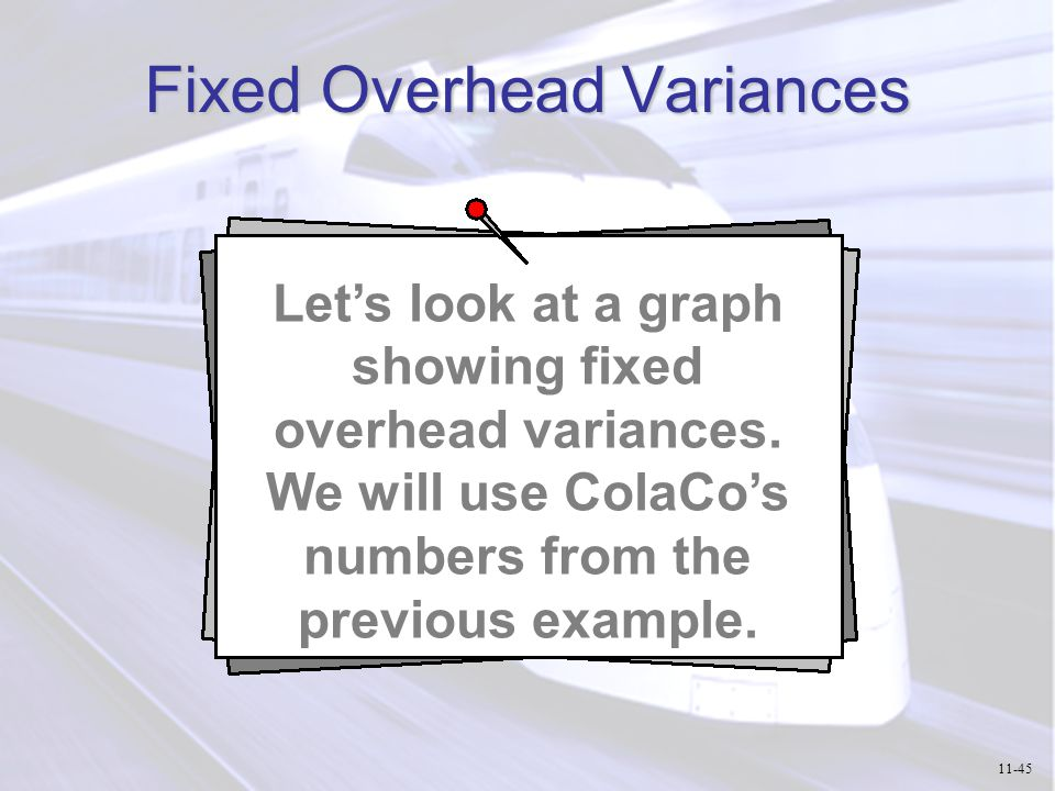 Fixed Overhead Variances Let's look at a graph showing fixed overhead variances. We will use ColaCo's numbers from the previous example. 11-45