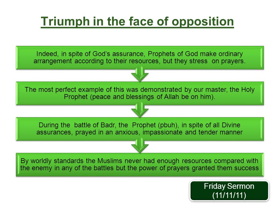 Triumph in the face of opposition By worldly standards the Muslims never had enough resources compared with the enemy in any of the battles but the po