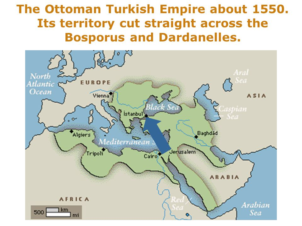 The Ottoman Turkish Empire about 1550.