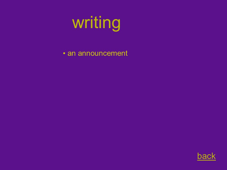 writing back an announcement