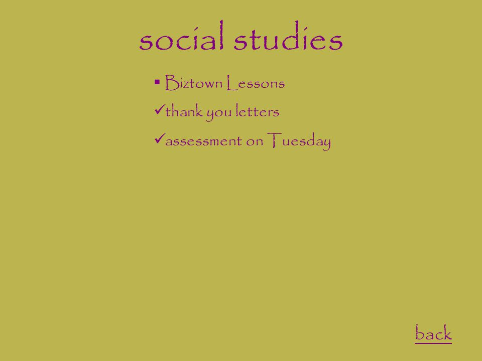 social studies back  Biztown Lessons thank you letters assessment on Tuesday